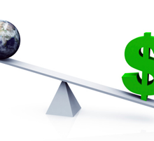 seesaw with world on one side dollar sign on other