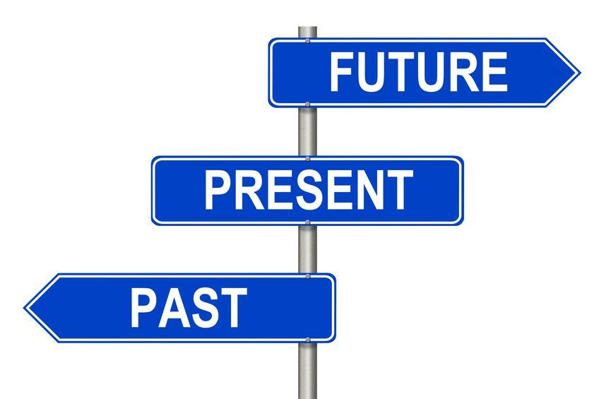 arrows with words past present future different directions