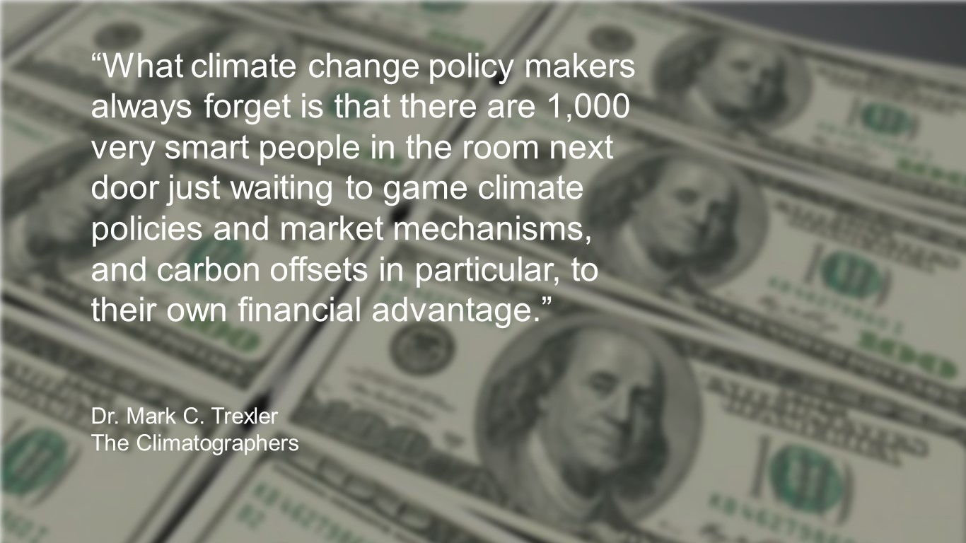 graphic with quote re 1000 smart people waiting to game climate policy